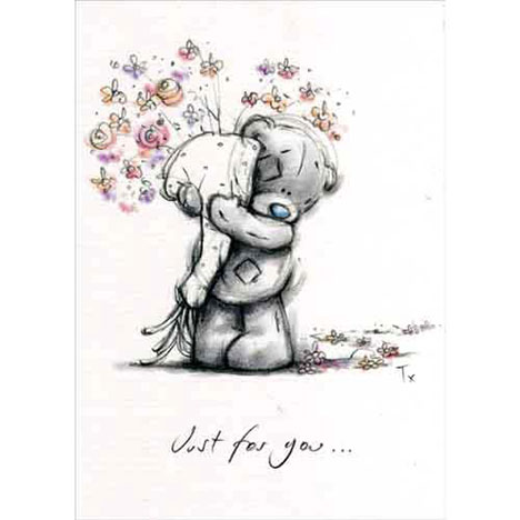 Bear Holding Bouquet Me to You Bear Card  £1.50