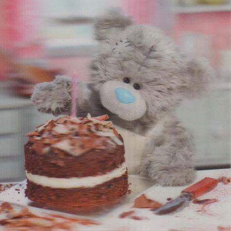 3D Holographic Bear making Cake Birthday Me to You bear Card  £2.85