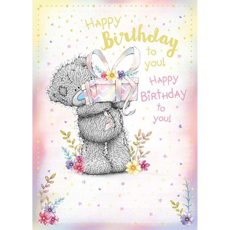 Happy Birthday Bear Holding Gift Me to You Bear Birthday Card  £1.79
