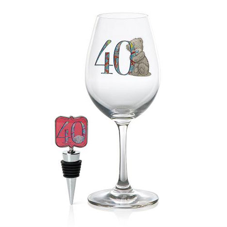 40th Birthday Me to You Bear Wine Glass and Bottle Stop