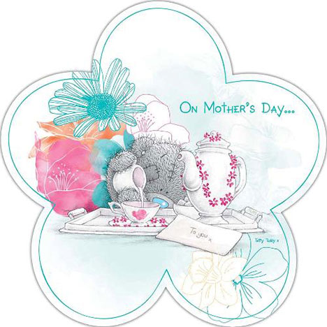 Mum with Tea Me to You Bear Flower Shaped Mothers Day Card  £1.95