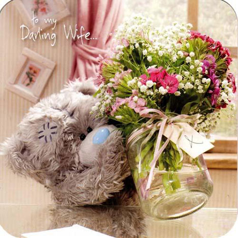 Wife Flowers and Vase Mothers Day Me to You Bear Card  £1.95