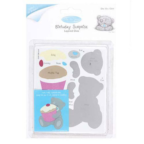 Cupcake Birthday Surprise Me to You Bear Layered Dies