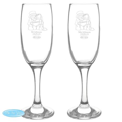 Personalised Me to You Bear Engraved Wedding Couple Flutes  £26.99