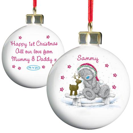 Personalised Me to You Bear Christmas Reindeer Bauble  £10.99
