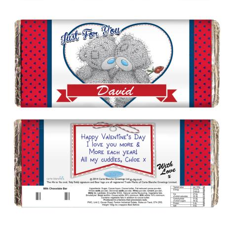 Personalised Me to You Love Heart Couple 100g Chocolate  Bar  £6.99