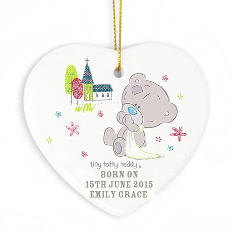 Personalised Tiny Tatty Teddy Ceramic Heart Decoration  £9.99