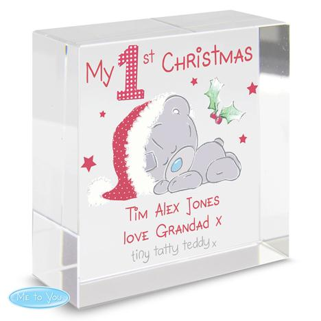 Personalised My 1st Christmas Me To You Bear Crystal Block  £16.99