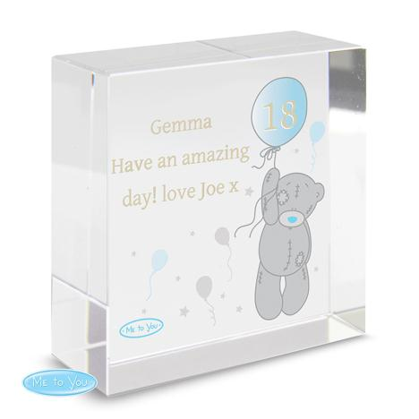 Personalised Me to You Balloon Crystal Block  £16.99