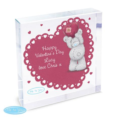 Personalised Me to You Bear Heart Large Crystal Block  £19.99