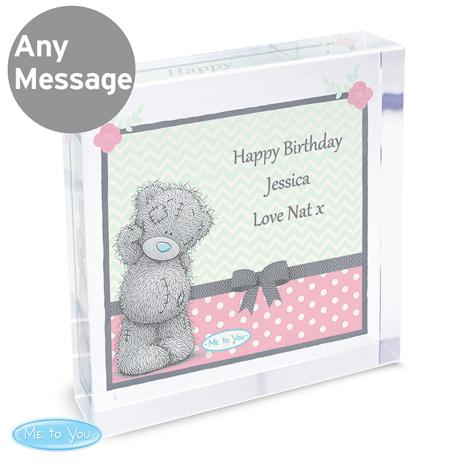 Personalised Me to You Bear Pastel Large Crystal Block  £19.99