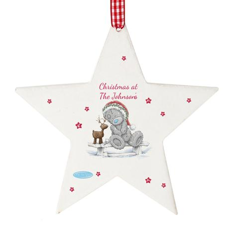 Personalised Me to You Reindeer Wooden Star Decoration  £10.99