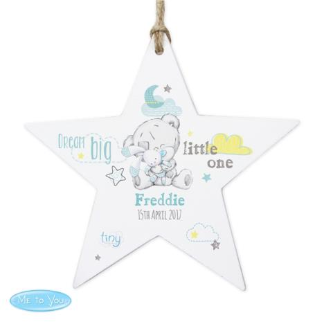 Personalised Tiny Tatty Teddy Dream Big Blue Wooden Star Decoration  £9.99