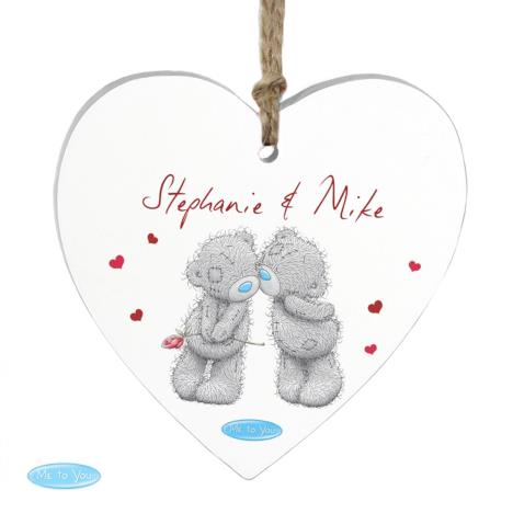 Personalised Me to You Bear Couples Wooden Heart Decoration  £9.99