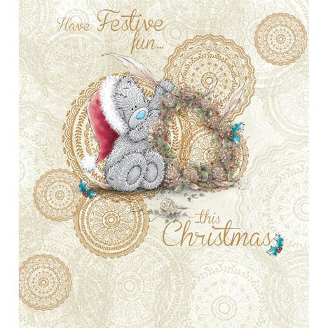 Bear With Feather Me to You Bear Christmas Card  £1.89