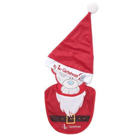 My 1st Christmas Tiny Tatty Teddy Bib & Santa Hat Set  £8.99