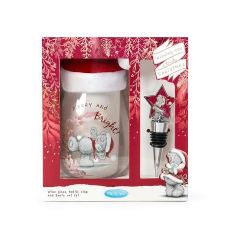 Stemless Wine Glass, Santa Hat & Bottle Stopper Me to You Gift Set  £9.99