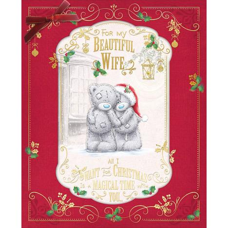 Beautiful Wife Large Handmade Me to You Bear Christmas Card  £4.99