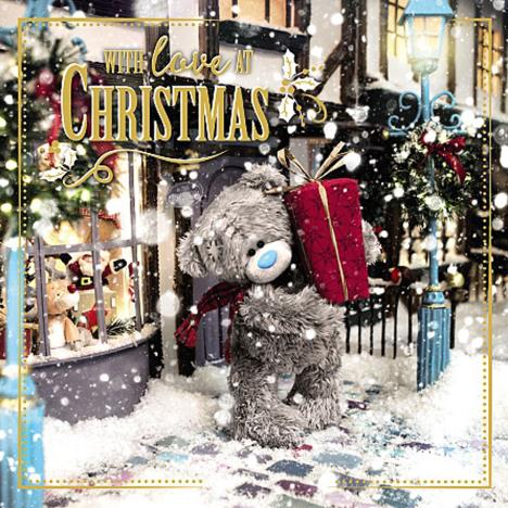 3D Holographic Bear Holding Large Present Me to You Bear Christmas Card  £3.59