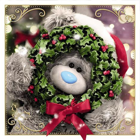 3D Holographic Bear Holding Wreath Me to You Bear Christmas Card  £2.69