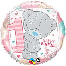 1st Birthday Girl Me to You Bear Balloon (Unfilled)