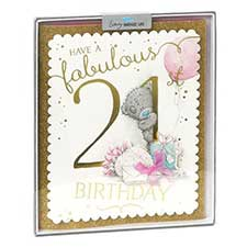 21st Birthday Me to You Bear Handmade Boxed Card
