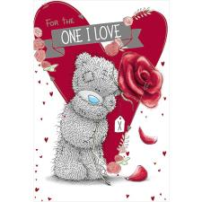One I Love Bear Holding Rose Me to You Bear Birthday Card