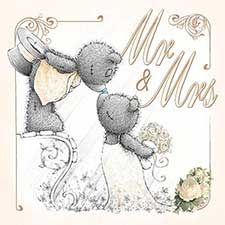 3D Holographic Mr & Mrs Me to You Bear Wedding Card