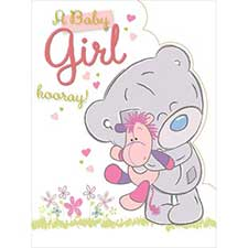 New Baby Girl Large Me to You Bear Card