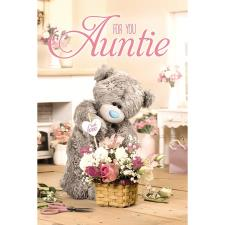 3D Holographic Auntie Flowers With Love Me to You Bear Birthday Card