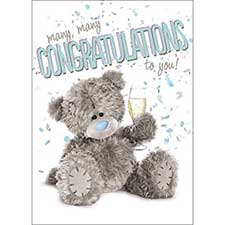 3D Holographic Congratulations To You Me to You Bear Card