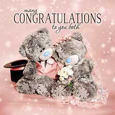 3D Holographic Congratulations to You Both Wedding Me to You Bear Card