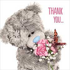 3D Holographic Thank You Me to You Bear Card