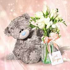 3D Holographic Just For You Flowers Me to You Bear Card