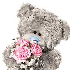 3D Holographic With Flowers Me to You Bear  Birthday Card