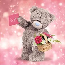 3D Holographic With Flowers Me To You Bear Card