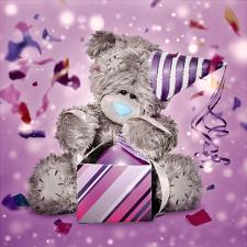 3D Holographic Bear With Party Hat Me to You Bear Card