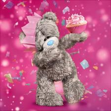 3D Holographic With Cupcake Me To You Bear Birthday Card