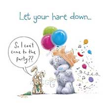 Let Your Hare Down Me to You Bear Birthday Card