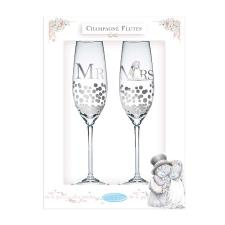 Mr & Mrs Me to You Bear Champagne Flutes