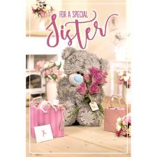 3D Holographic Sister Me to You Bear Birthday Card