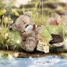 3D Holographic Fishing Me to You Bear Birthday Card