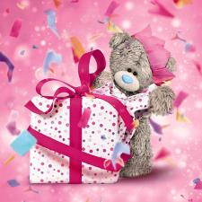 3D Holographic With Large Presents Me To You Bear Birthday Card
