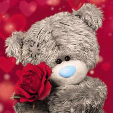 3D Holographic Bear With Rose Me to You Bear Card