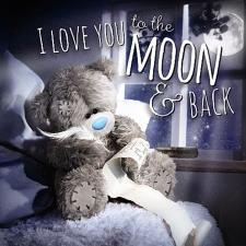 3D Holographic Love You To The Moon & Back Me to You Card