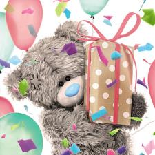 3D Holographic Holding Present Me to You Bear Birthday Card
