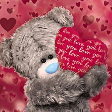3D Holographic Bear Holding Love Heart Me to You Bear Card