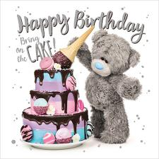 3D Holographic With Large Cake Me to You Bear Birthday Card