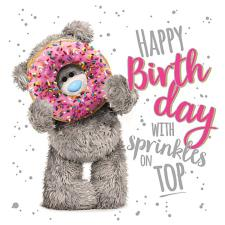 3D Holographic Holding Doughnut Me to You Bear Birthday Card