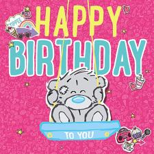 3D Holographic Bear On Swing Me to You Bear Birthday Card